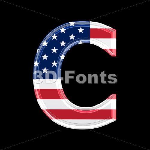 3d American flag font C – Capital 3d letter