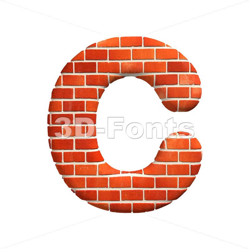 3d Brick wall font C – Capital 3d letter