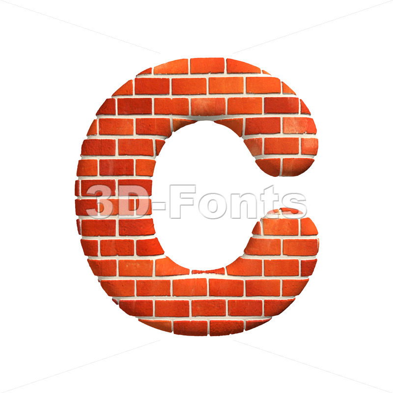 3d Brick wall font C – Capital 3d letter