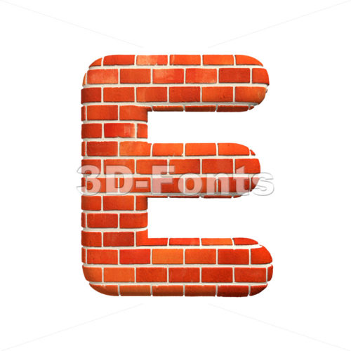 3d Capital character E covered in Brick texture