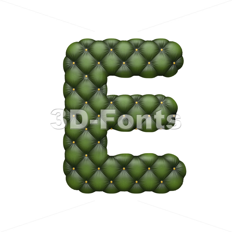 3d Capital character E covered in Chesterfield texture