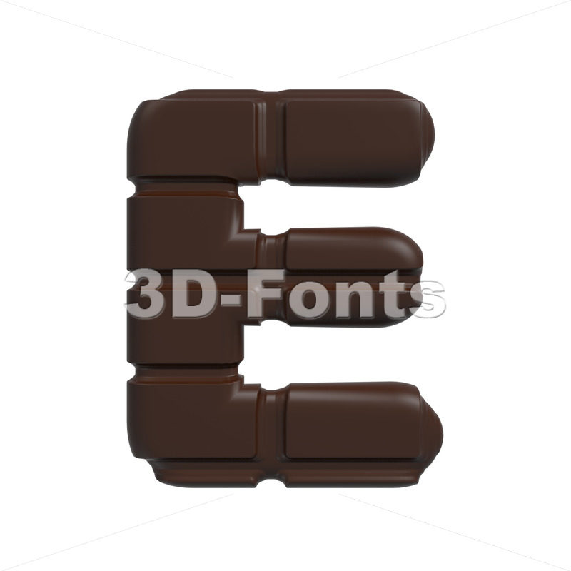 3d Capital character E covered in chocolate texture