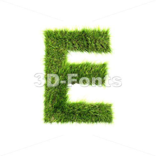 3d Capital character E covered in green herb texture