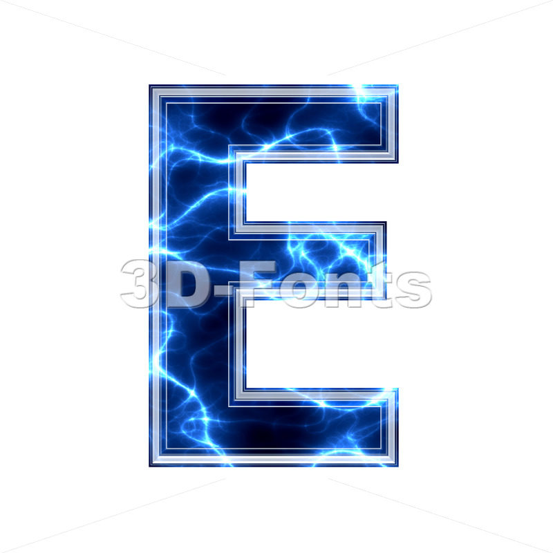 3d Capital character E covered in lightning texture - 3d-fonts.com