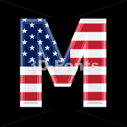 3d Capital character M covered in American texture