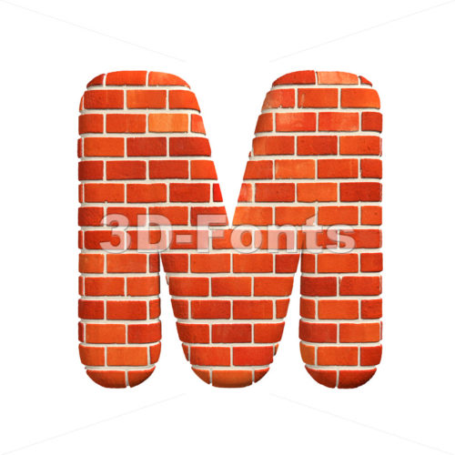 3d Capital character M covered in Brick texture