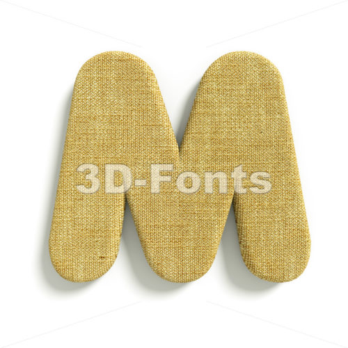 3d Capital character M covered in Hessian texture