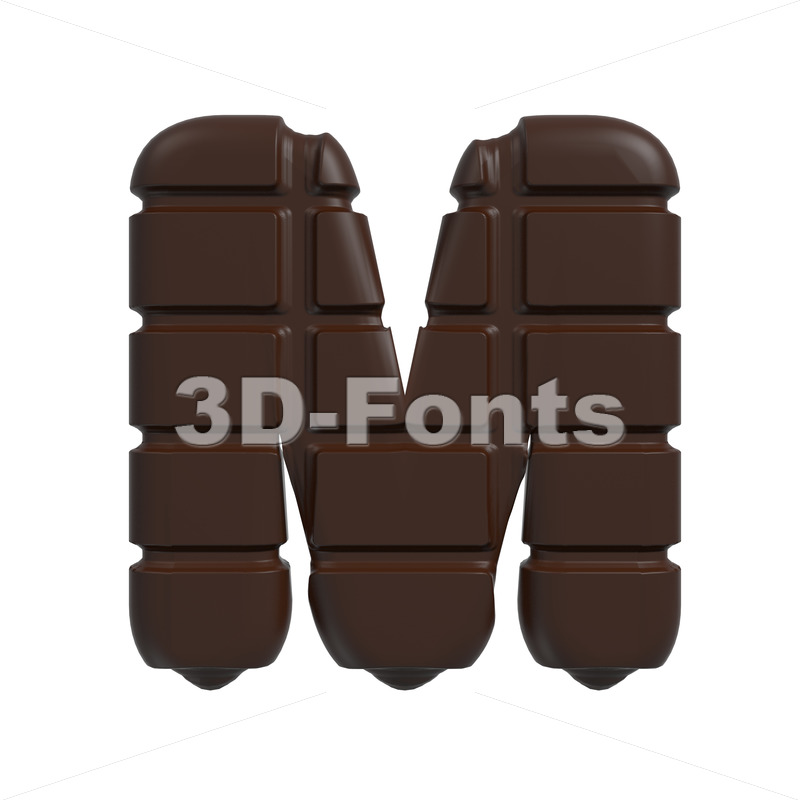 3d Capital character M covered in chocolate texture