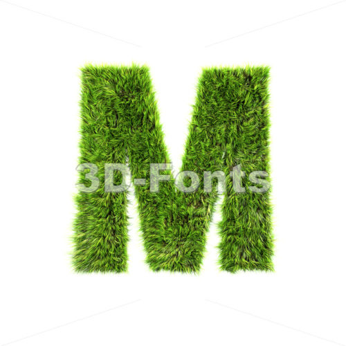 3d Capital character M covered in green herb texture