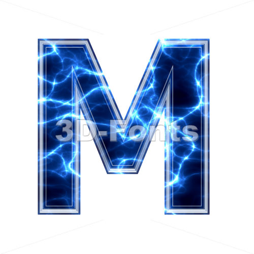 3d Capital character M covered in lightning texture - 3d-fonts.com