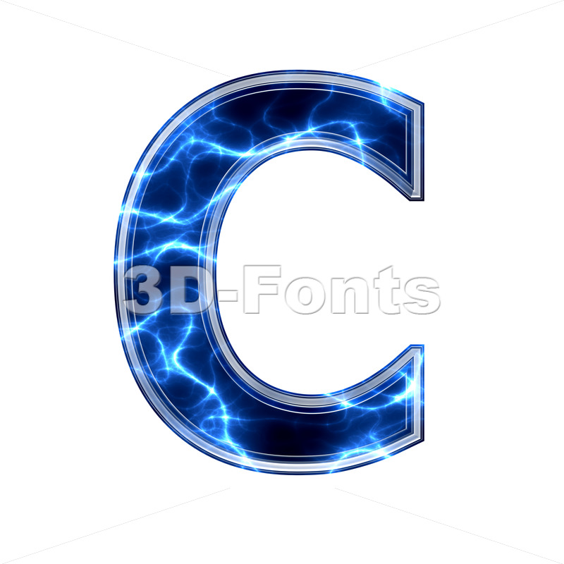 3d Electric font C – Capital 3d letter - 3d-fonts.com