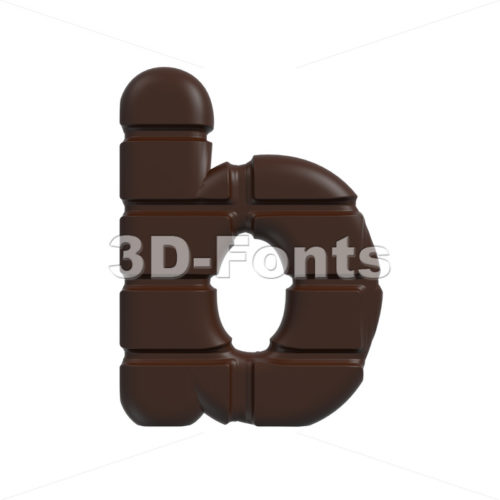 3d Lower-case character B covered in chocolate texture