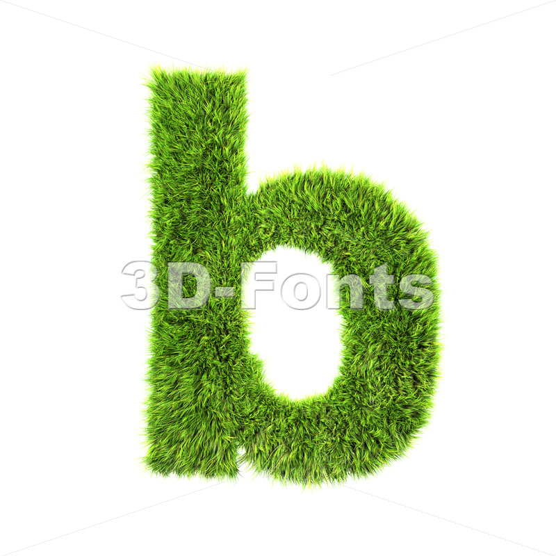 3d Lower-case character B covered in green herb texture