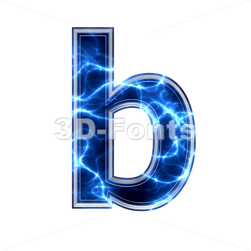 3d Lower-case character B covered in lightning texture