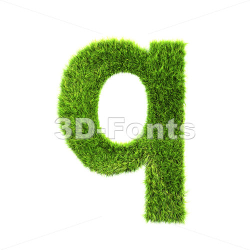 3d Lower-case font Q covered in grass texture
