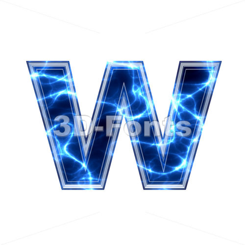 3d Lower-case letter W covered in Blue lightning texture