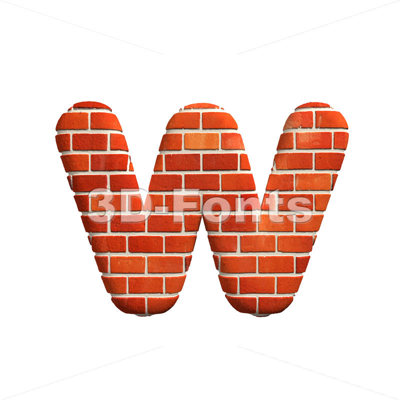 3d Lower-case letter W covered in Brick texture