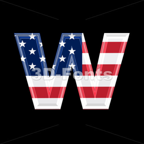 3d Lower-case letter W covered in US flag texture