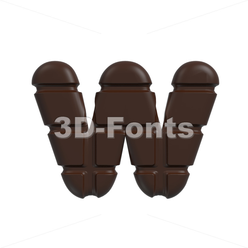 3d Lower-case letter W covered in chocolate texture