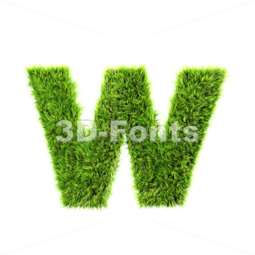 3d Lower-case letter W covered in grass texture