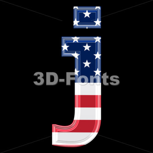 3d Lowercase character J covered in American flag texture