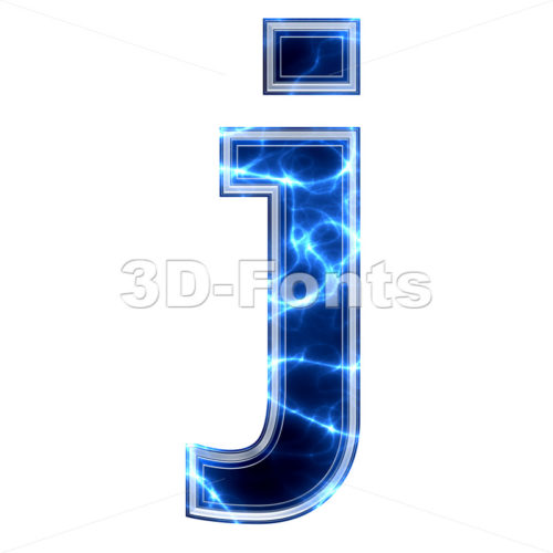 3d Lowercase character J covered in Electric texture