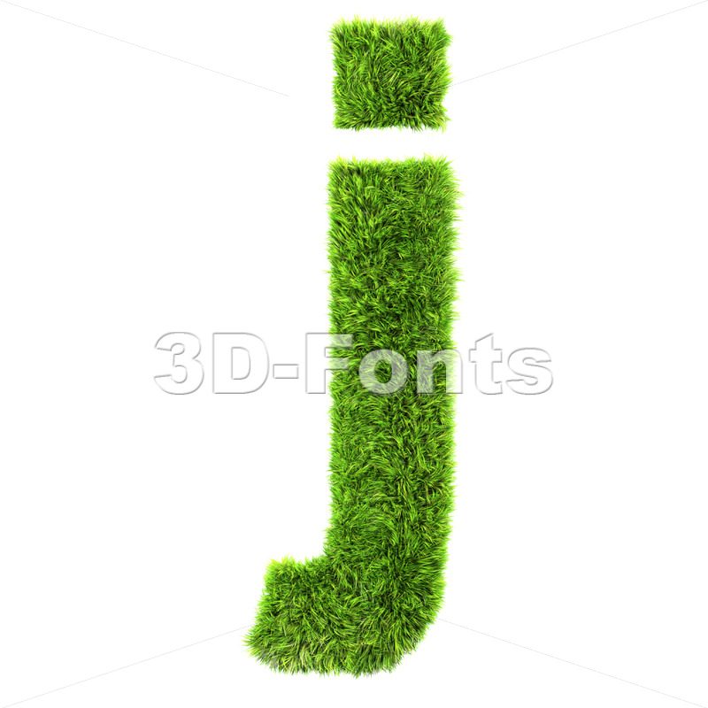 3d Lowercase character J covered in green grass texture