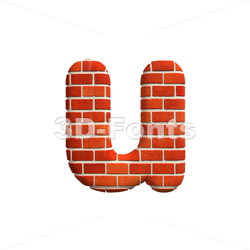 3d Small character U covered in Brick texture