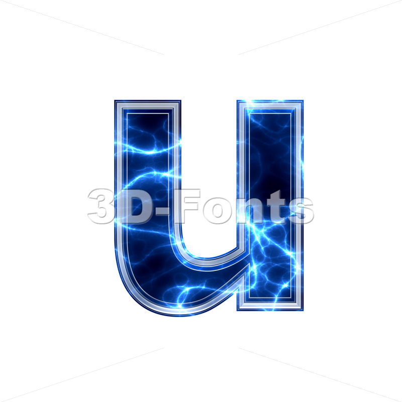 3d Small character U covered in lightning texture