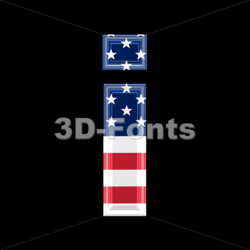 3d Small letter I covered in American texture