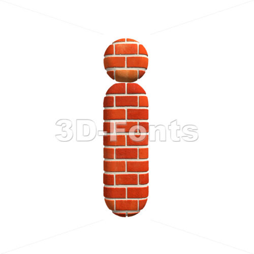 3d Small letter I covered in Brick texture – Lowercase 3d character