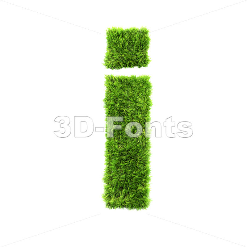 3d Small letter I covered in green herb texture