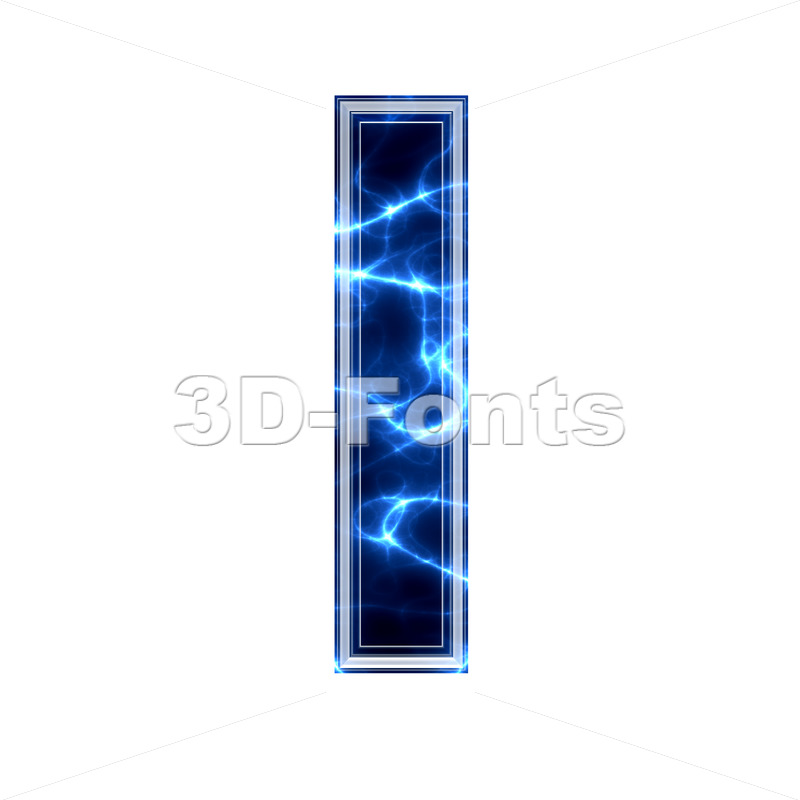 3d Small letter L covered in Blue lightning texture