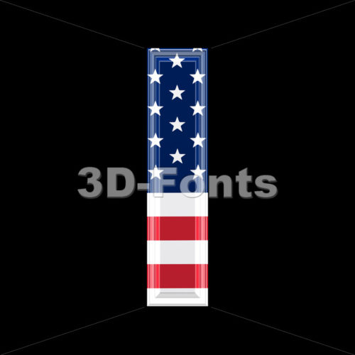 3d Small letter L covered in US flag texture – Lowercase 3d character