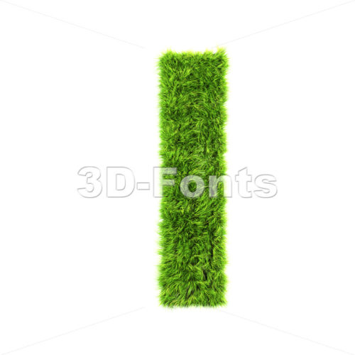 3d Small letter L covered in grass texture – Lowercase 3d character
