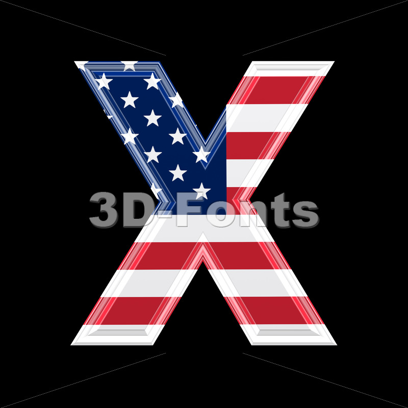 3d Upper-case character X covered in American texture