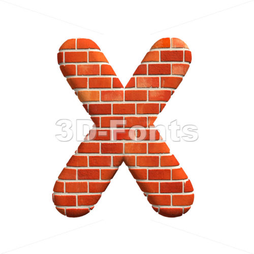 3d Upper-case character X covered in Brick texture