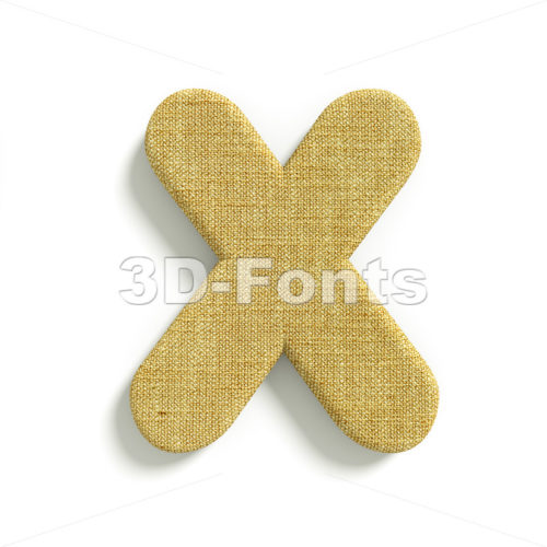3d Upper-case character X covered in Hessian texture