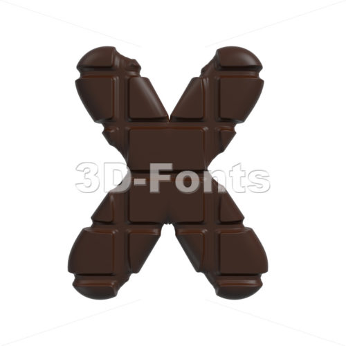3d Upper-case character X covered in chocolate texture