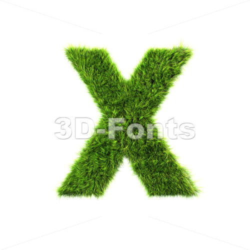 3d Upper-case character X covered in green herb texture