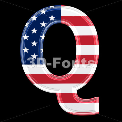 3d Upper-case font Q covered in American texture