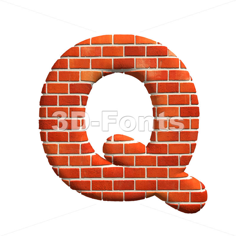 3d Upper-case font Q covered in Brick texture