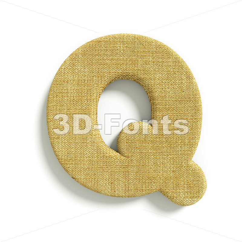 3d Upper-case font Q covered in Hessian texture