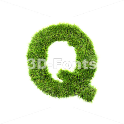 3d Upper-case font Q covered in green herb texture