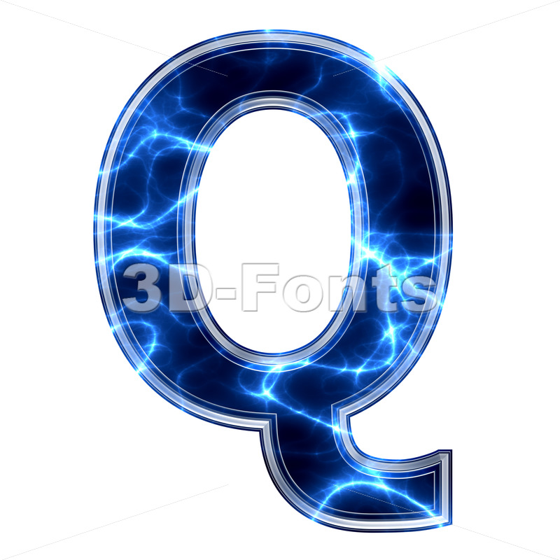 3d Upper-case font Q covered in lightning texture - 3d-fonts.com