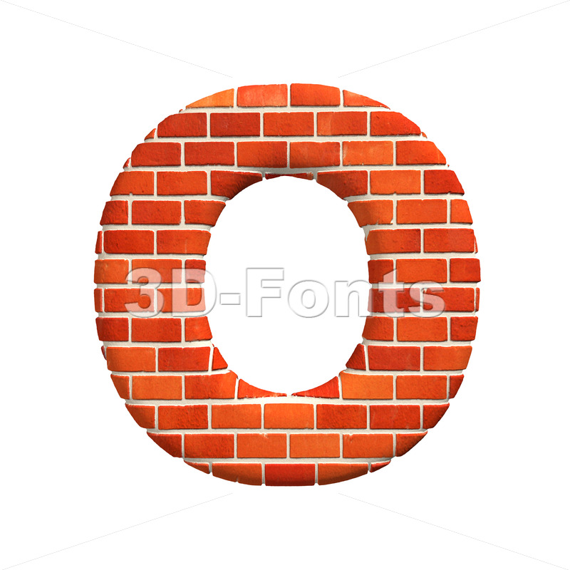 3d Upper-case letter O covered in Brick wall texture