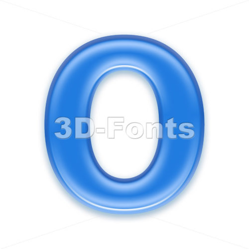 3d Upper-case letter O covered in blue jelly texture