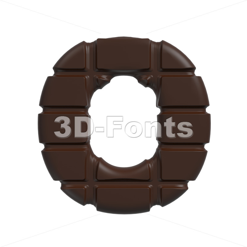 3d Upper-case letter O covered in cacao texture