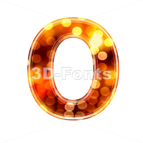 3d Upper-case letter O covered in defocus lights texture