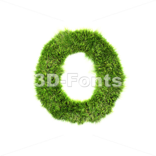 3d Upper-case letter O covered in green grass texture